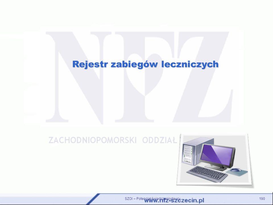 Rejestr zabiegów leczniczych