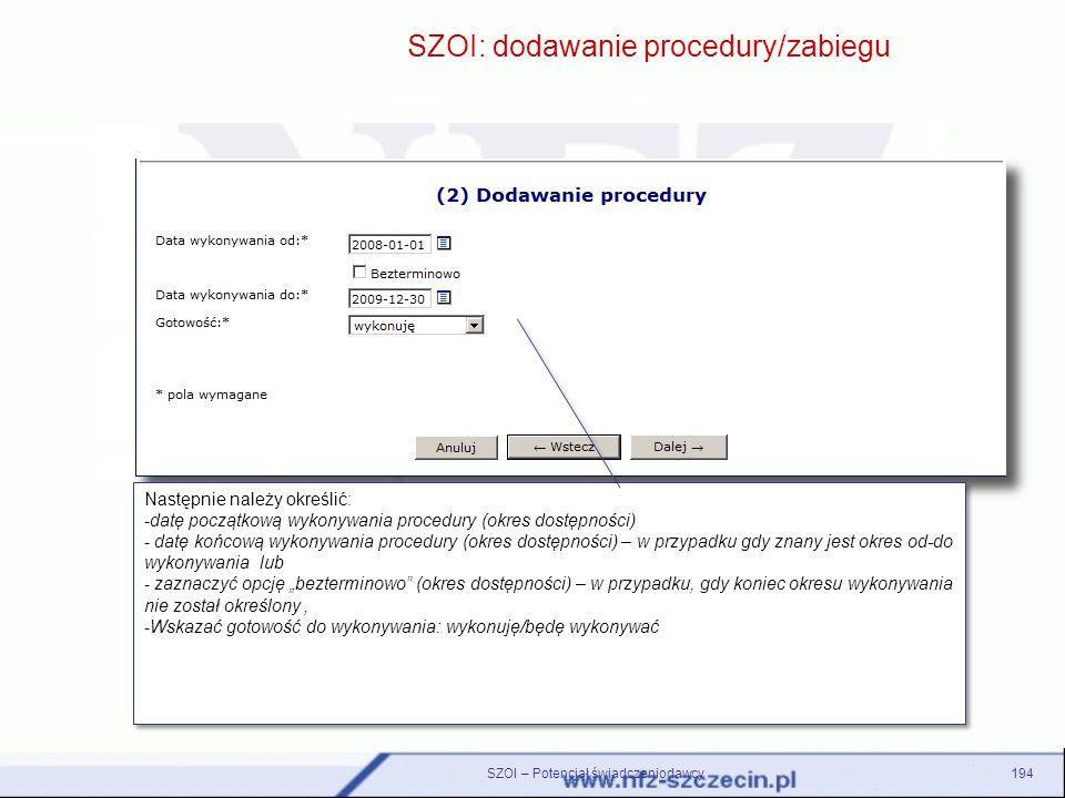 SZOI: dodawanie procedury/zabiegu