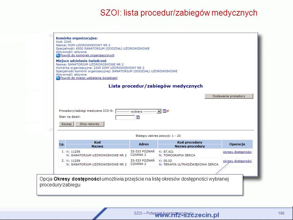 SZOI: lista procedur/zabiegów medycznych