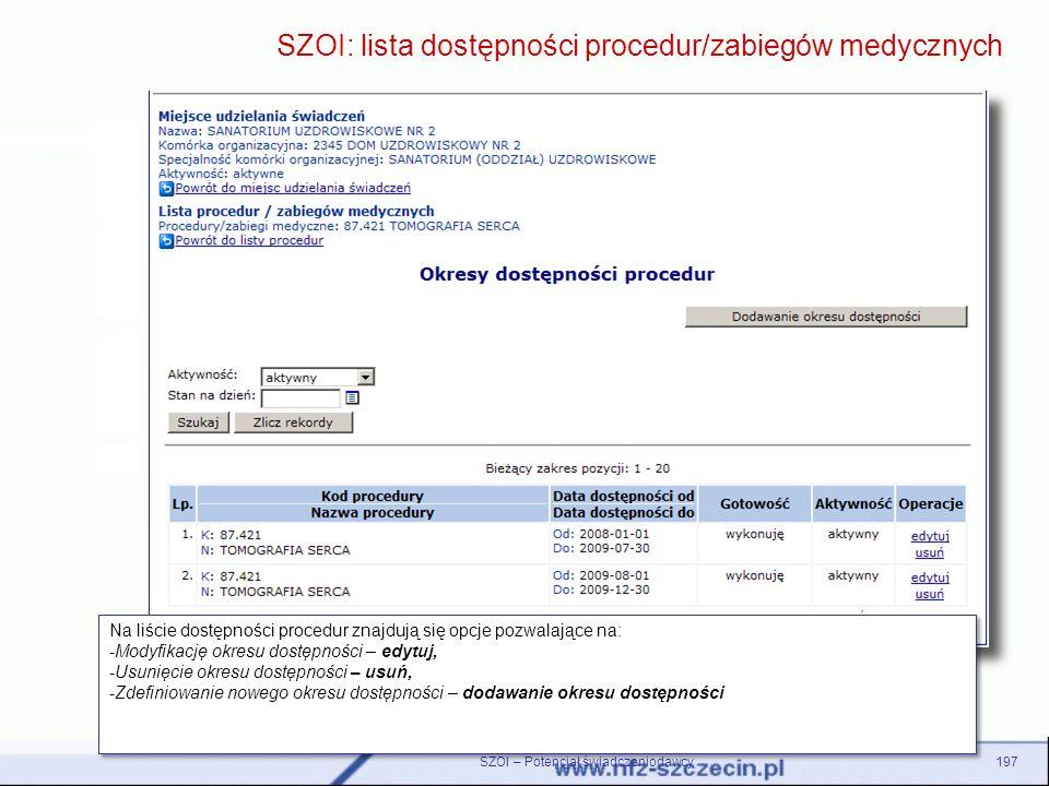 SZOI: lista dostępności procedur/zabiegów medycznych