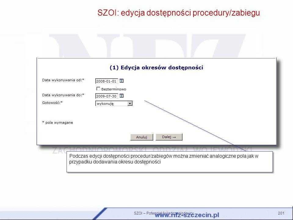 SZOI: edycja dostępności procedury/zabiegu