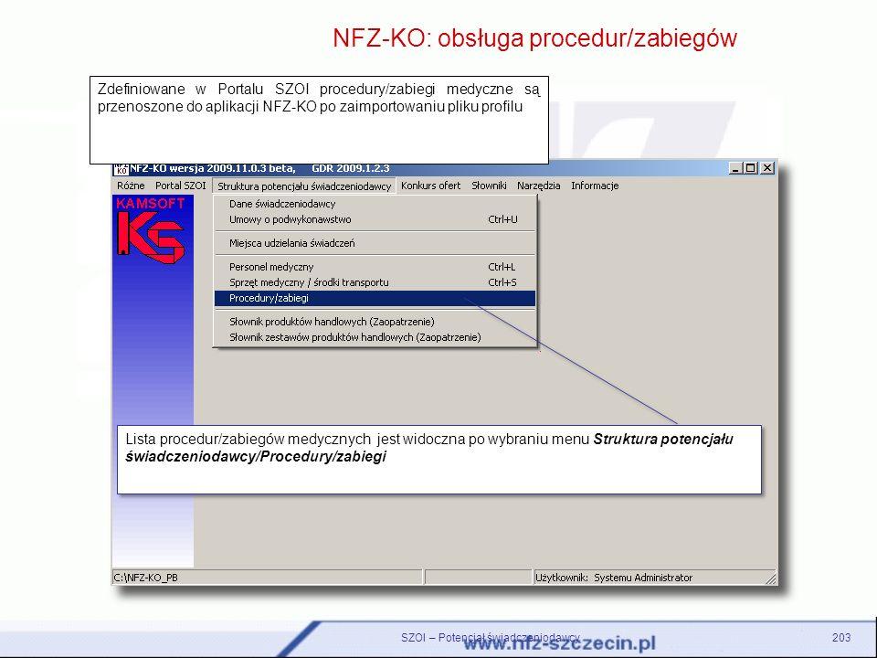 NFZ-KO: obsługa procedur/zabiegów