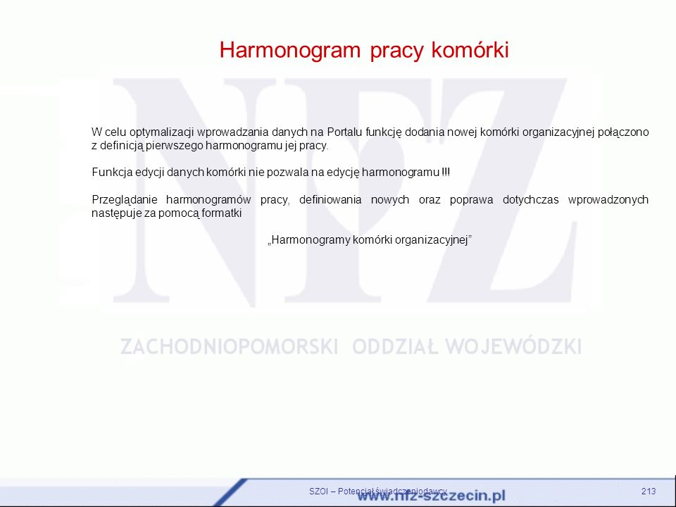 Harmonogram pracy komórki