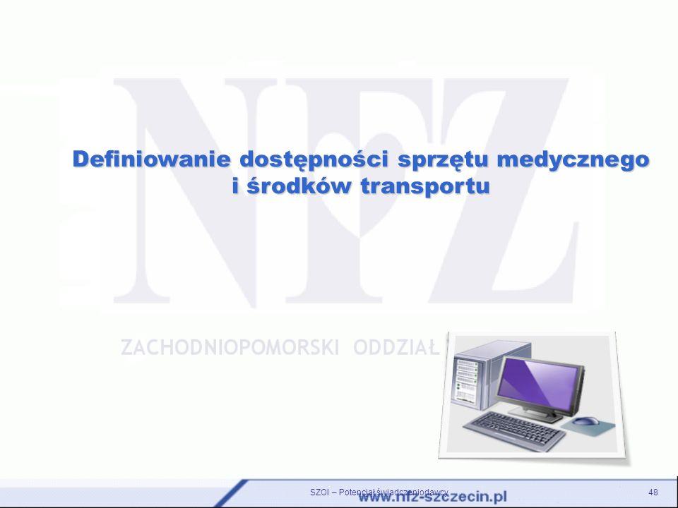 Definiowanie dostępności sprzętu medycznego i środków transportu