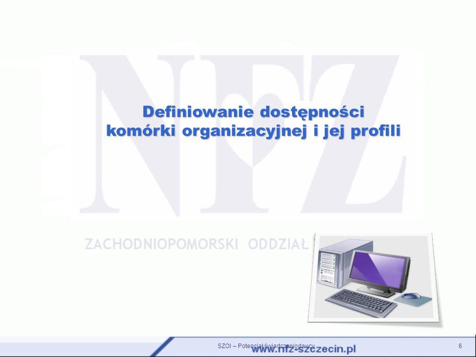 Definiowanie dostępności komórki organizacyjnej i jej profili