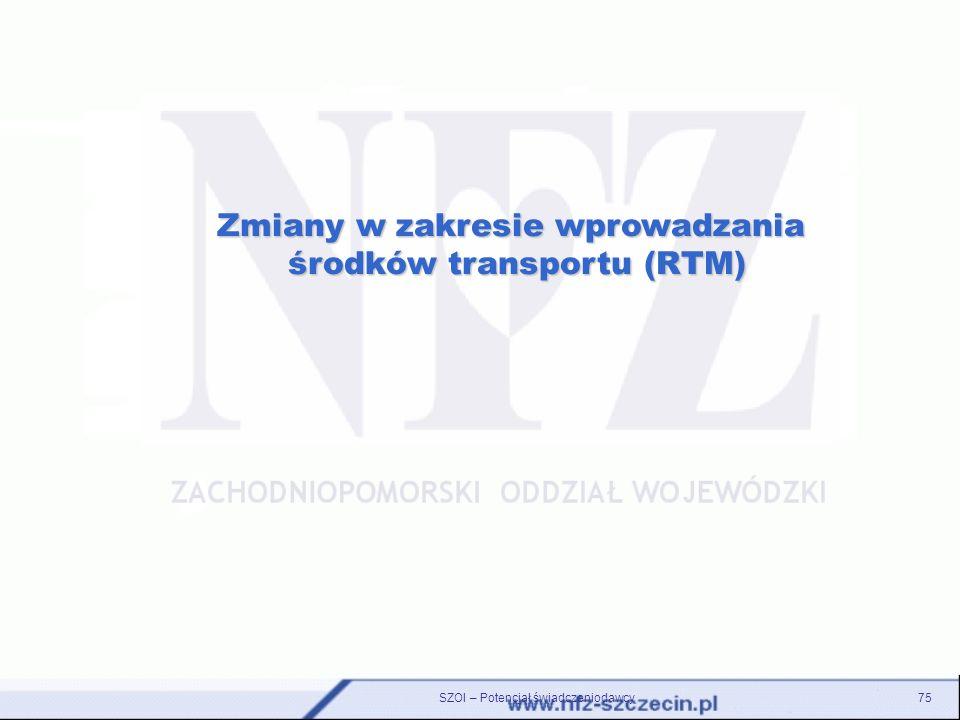 Zmiany w zakresie wprowadzania środków transportu (RTM)