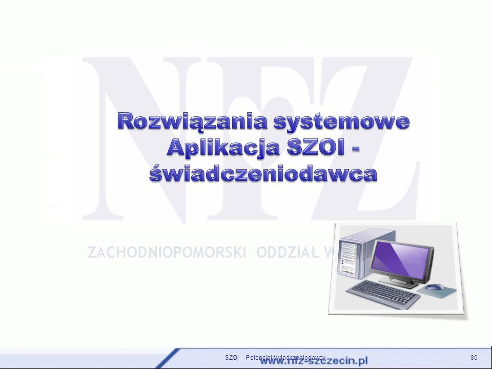 Rozwiązania systemowe Aplikacja SZOI - świadczeniodawca