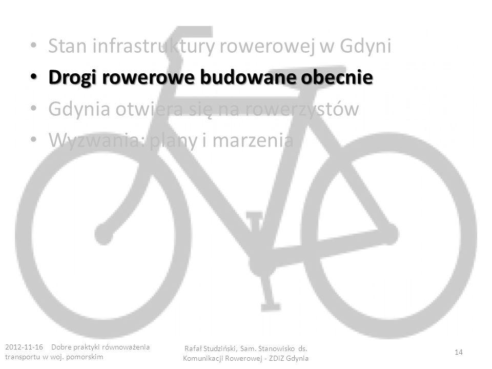 Stan infrastruktury rowerowej w Gdyni Drogi rowerowe budowane obecnie