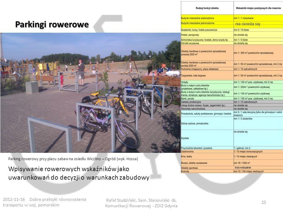 Parkingi rowerowe Parking rowerowy przy placu zabaw na osiedlu Wiczlino – Ogród (wyk. Hossa)