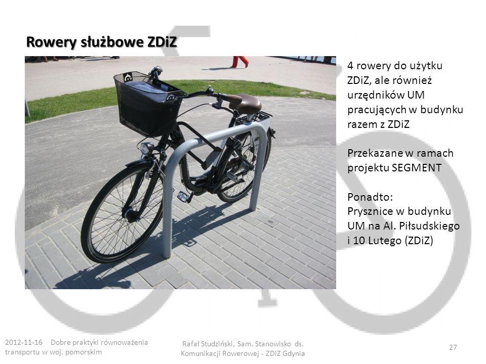 Rowery służbowe ZDiZ 4 rowery do użytku ZDiZ, ale również urzędników UM pracujących w budynku razem z ZDiZ.