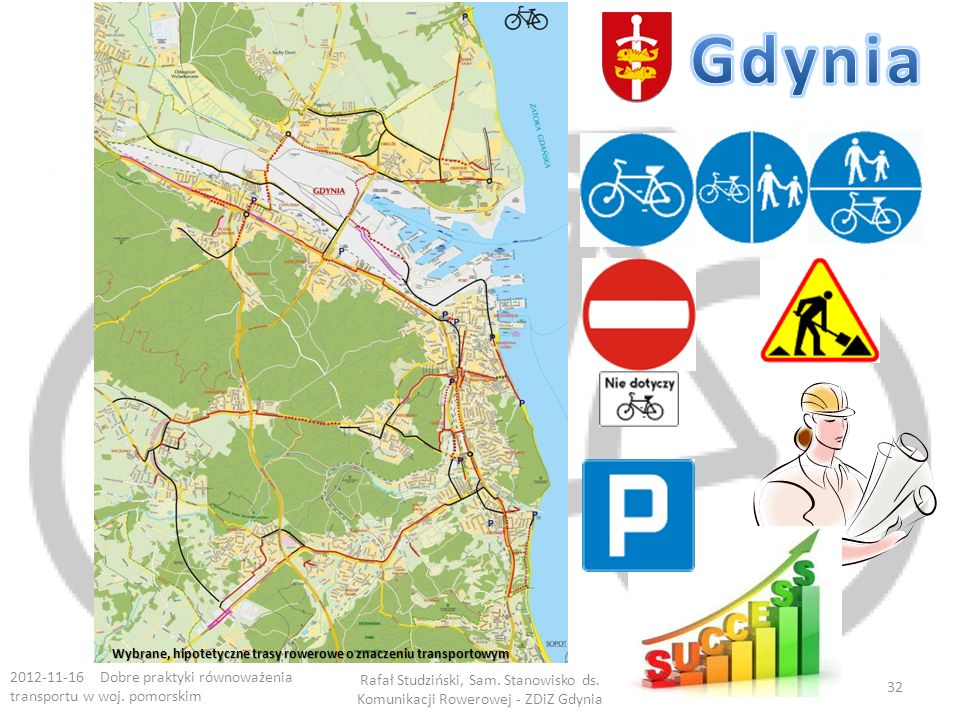 Gdynia Wybrane, hipotetyczne trasy rowerowe o znaczeniu transportowym. 2012-11-16 Dobre praktyki równoważenia transportu w woj. pomorskim.