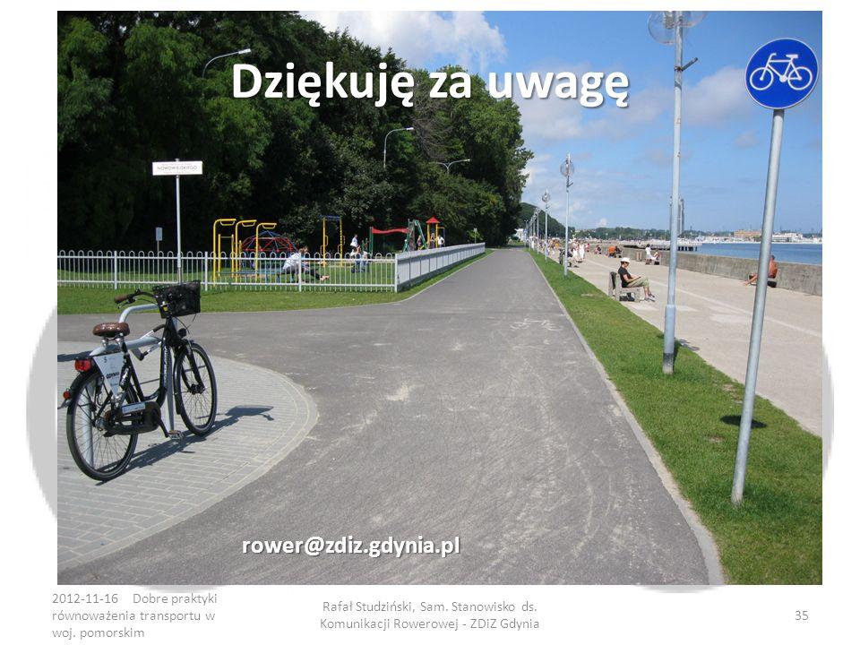 Dziękuję za uwagę rower@zdiz.gdynia.pl