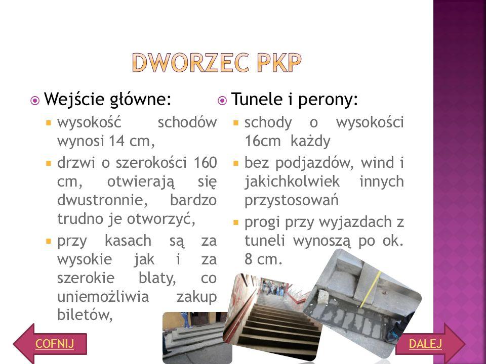 DWORZEC PKP Wejście główne: Tunele i perony: