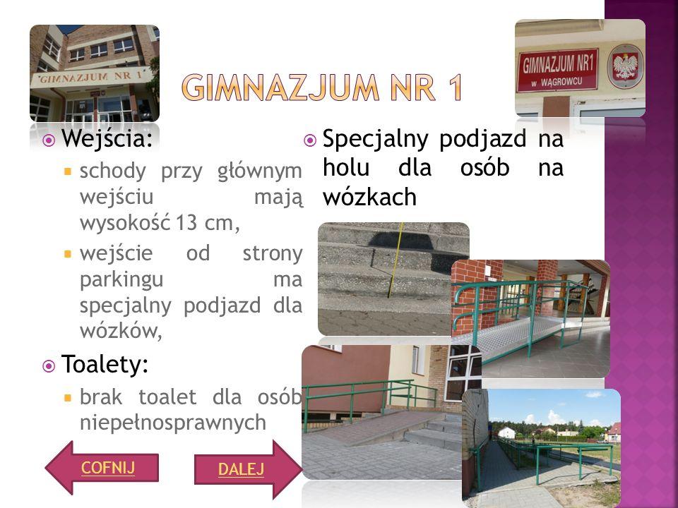 Gimnazjum nr 1 Wejścia: Specjalny podjazd na holu dla osób na wózkach