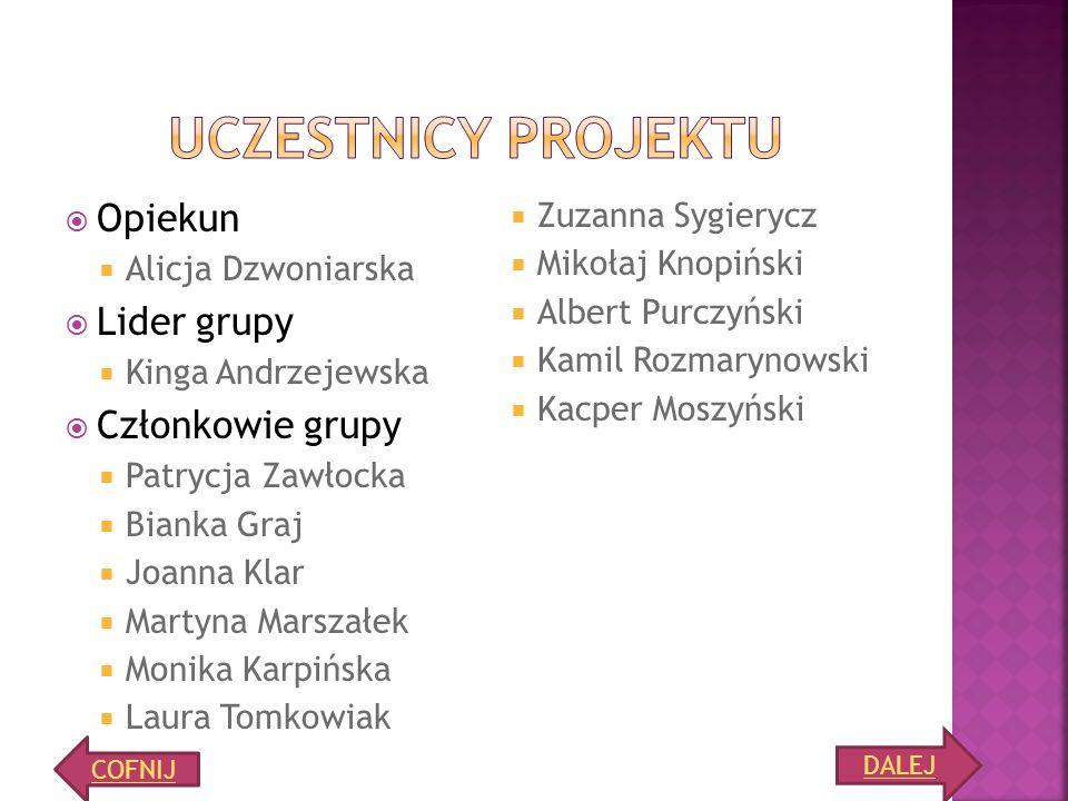 Uczestnicy projektu Opiekun Lider grupy Członkowie grupy