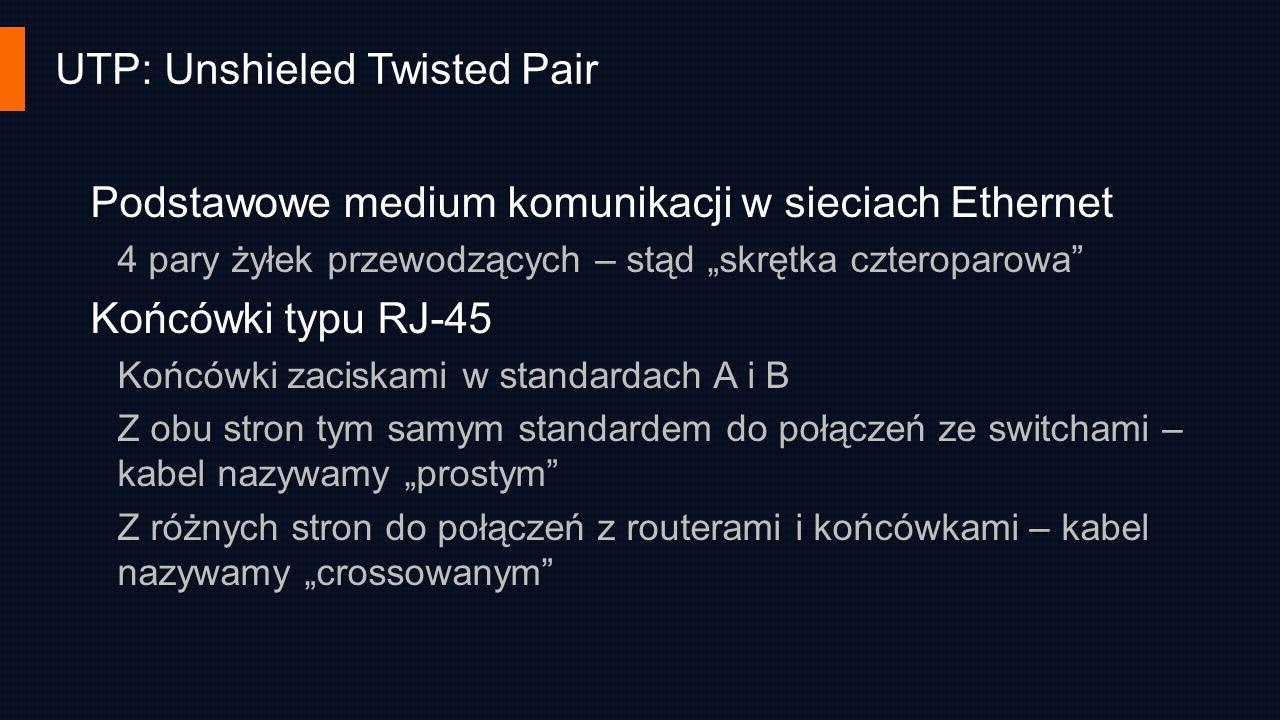UTP: Unshieled Twisted Pair