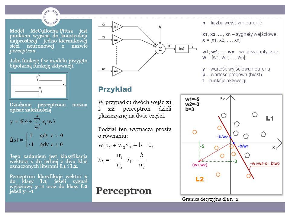 Perceptron Przyklad L1 L2