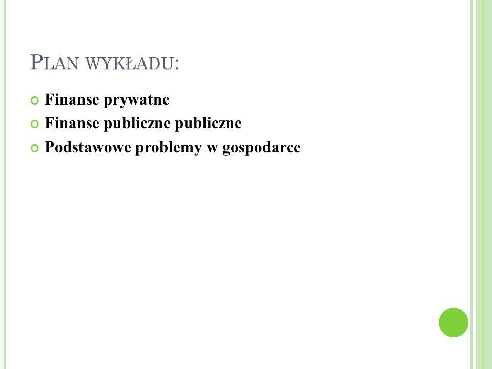 Plan wykładu: Finanse prywatne Finanse publiczne publiczne