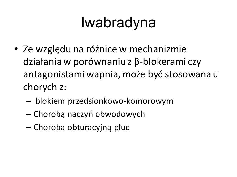 Iwabradyna Ze względu na różnice w mechanizmie działania w porównaniu z β-blokerami czy antagonistami wapnia, może być stosowana u chorych z: