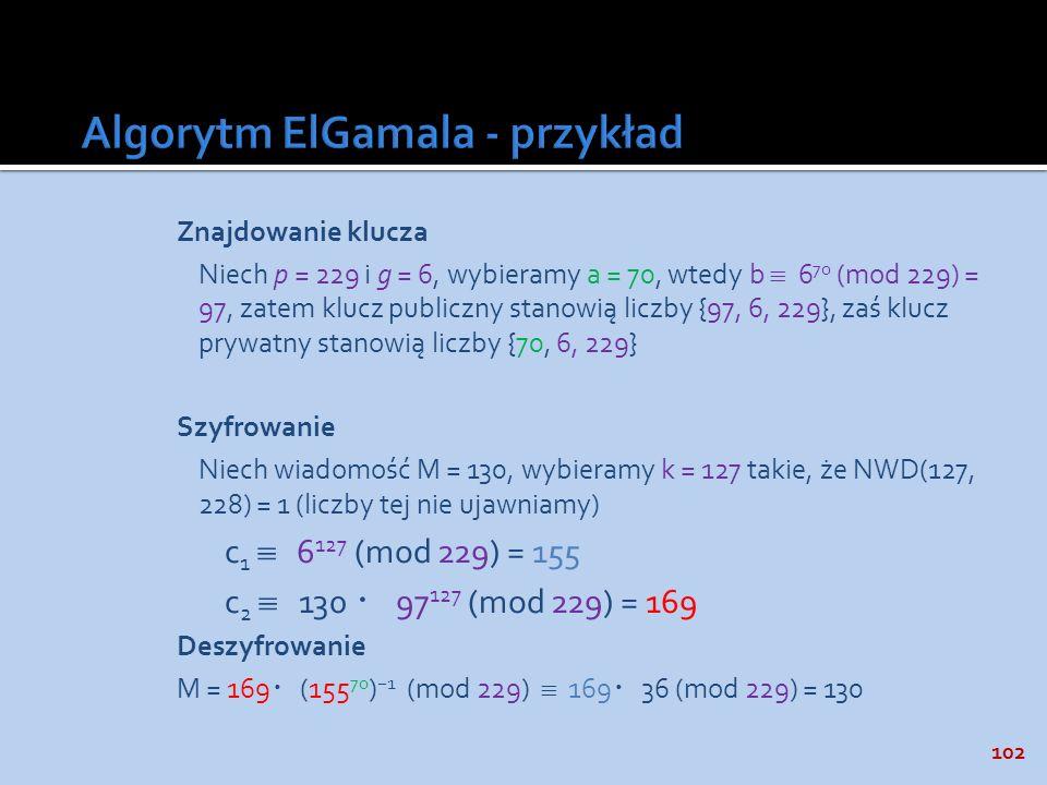 Algorytm ElGamala - przykład