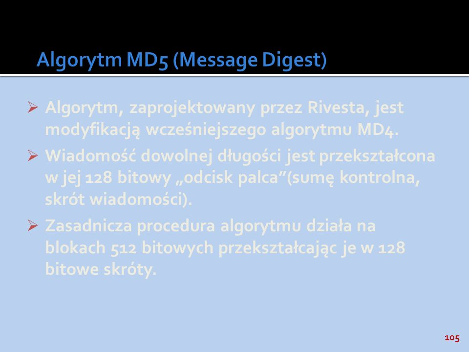 Algorytm MD5 (Message Digest)