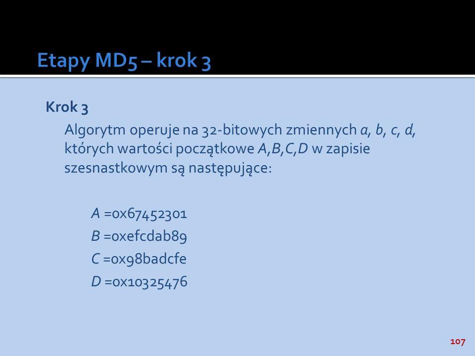Etapy MD5 – krok 3