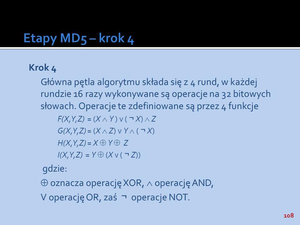 Etapy MD5 – krok 4 Krok 4.