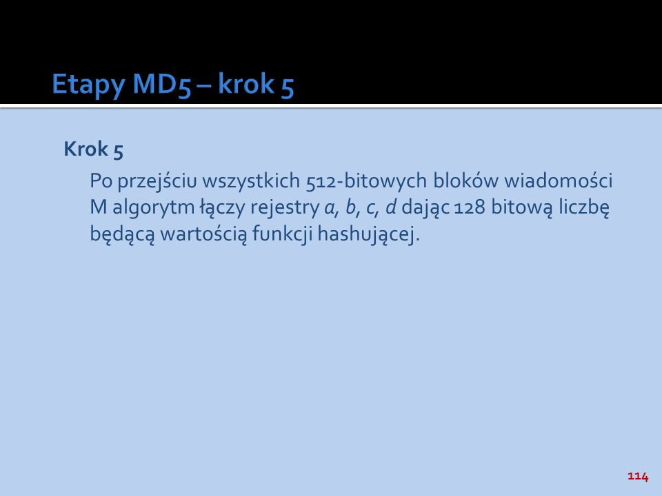 Etapy MD5 – krok 5