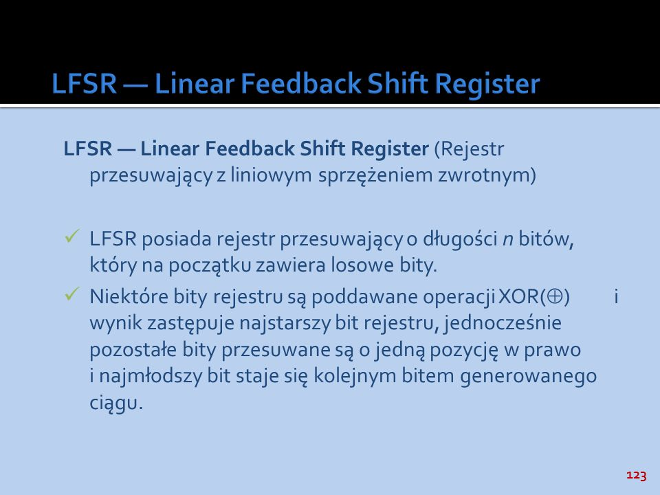 LFSR — Linear Feedback Shift Register