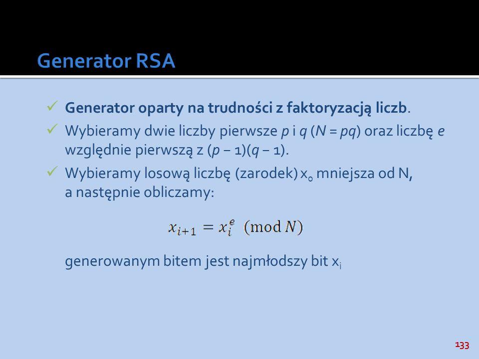 Generator RSA Generator oparty na trudności z faktoryzacją liczb.