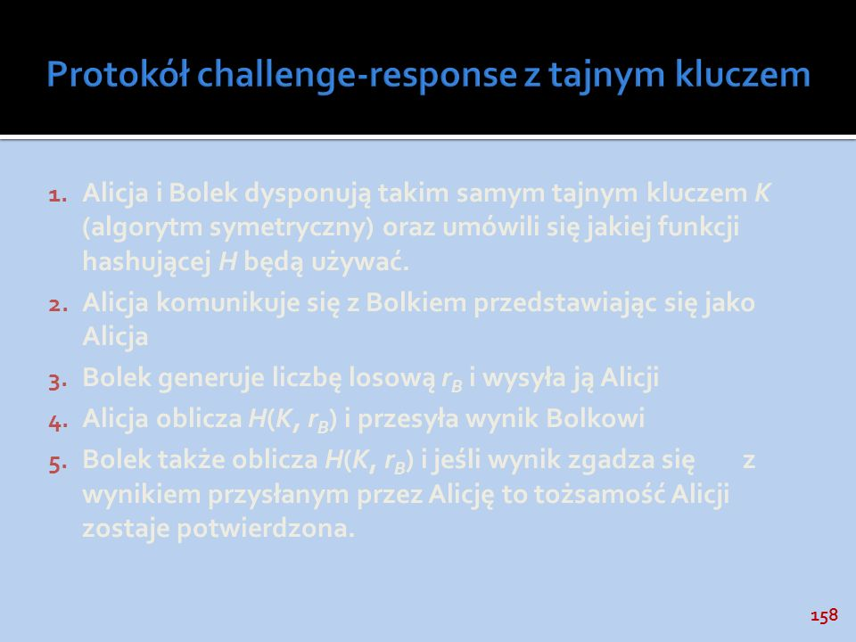 Protokół challenge-response z tajnym kluczem