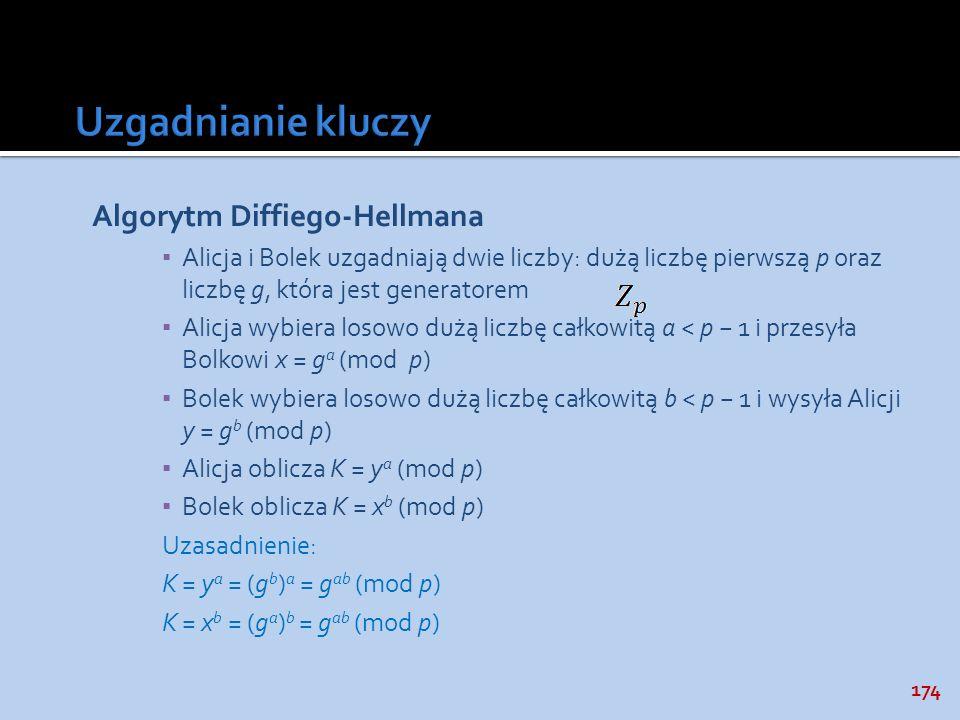 Uzgadnianie kluczy Algorytm Diffiego-Hellmana