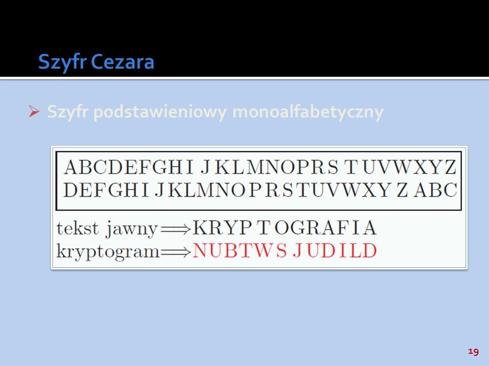 Szyfr Cezara Szyfr podstawieniowy monoalfabetyczny