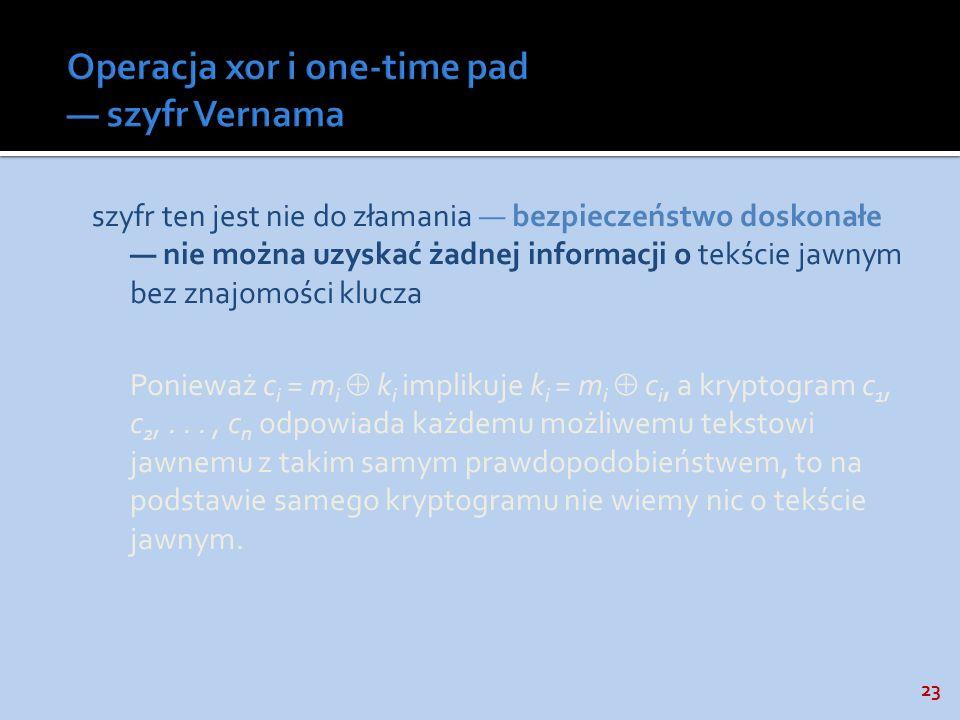 Operacja xor i one-time pad — szyfr Vernama