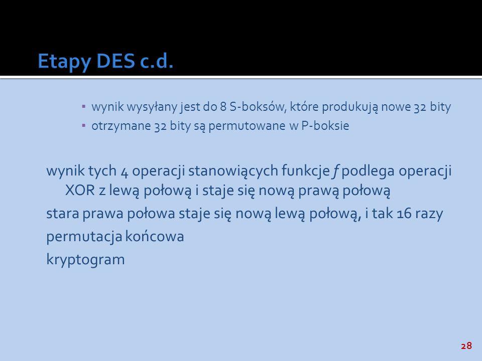 Etapy DES c.d. wynik wysyłany jest do 8 S-boksów, które produkują nowe 32 bity. otrzymane 32 bity są permutowane w P-boksie.