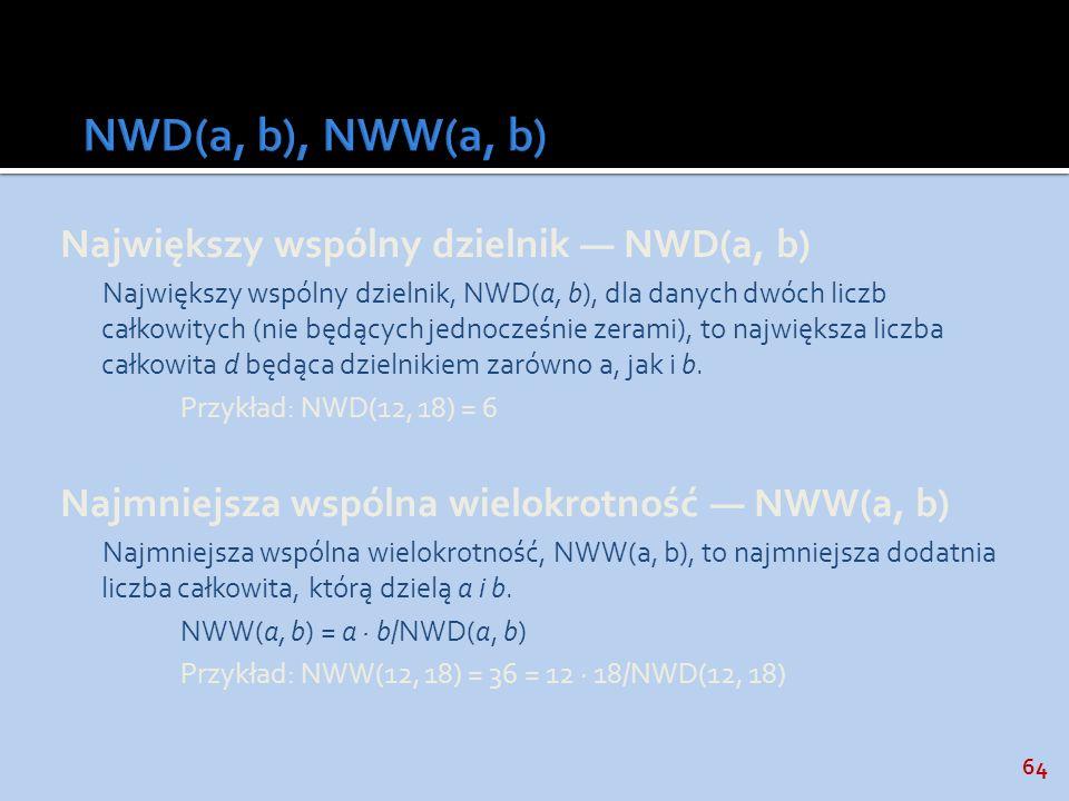 NWD(a, b), NWW(a, b) Największy wspólny dzielnik — NWD(a, b)