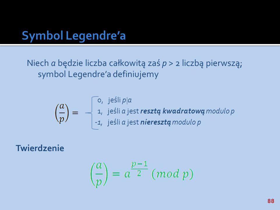 Symbol Legendre'a Niech a będzie liczba całkowitą zaś p > 2 liczbą pierwszą; symbol Legendre'a definiujemy.