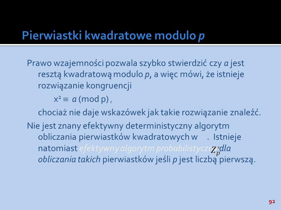 Pierwiastki kwadratowe modulo p
