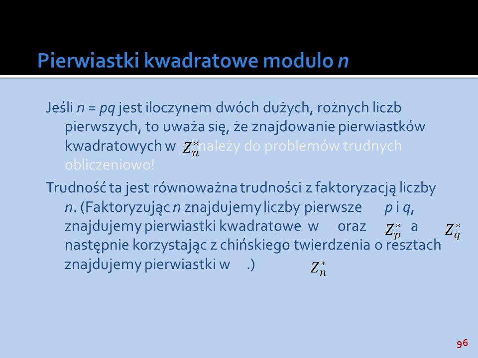 Pierwiastki kwadratowe modulo n