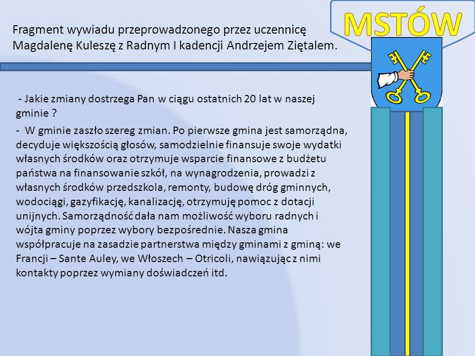 MSTÓWFragment wywiadu przeprowadzonego przez uczennicę Magdalenę Kuleszę z Radnym I kadencji Andrzejem Ziętalem.