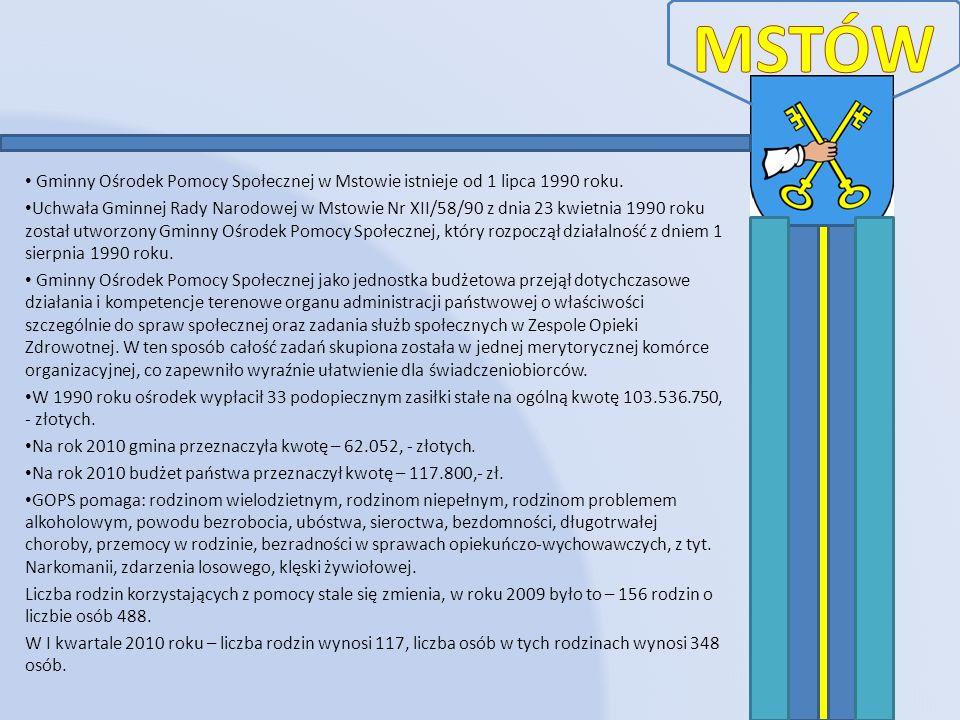MSTÓW Gminny Ośrodek Pomocy Społecznej w Mstowie istnieje od 1 lipca 1990 roku.