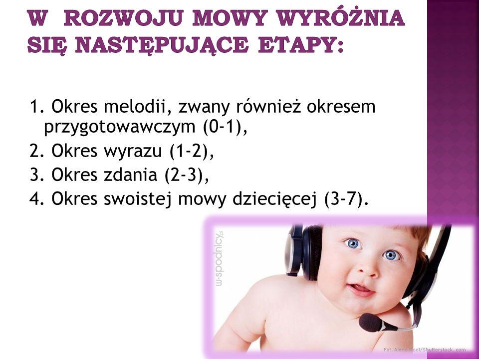 W rozwoju mowy wyróżnia się następujące etapy: