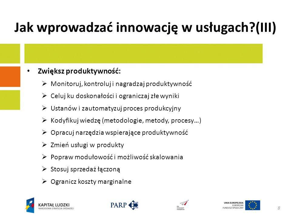 Jak wprowadzać innowację w usługach (III)