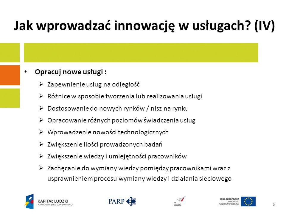 Jak wprowadzać innowację w usługach (IV)
