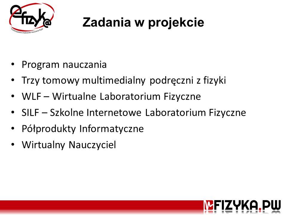 Zadania w projekcie Program nauczania