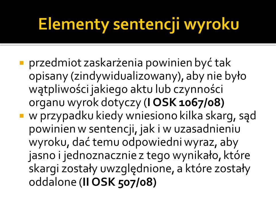 Elementy sentencji wyroku
