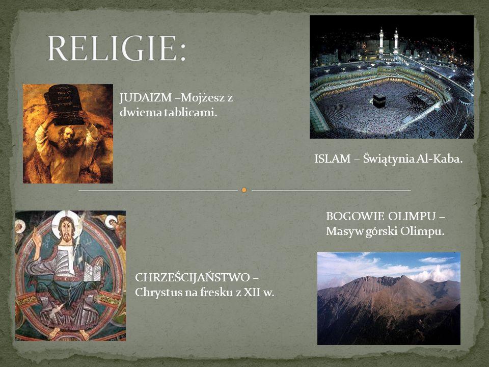 RELIGIE: JUDAIZM –Mojżesz z dwiema tablicami.