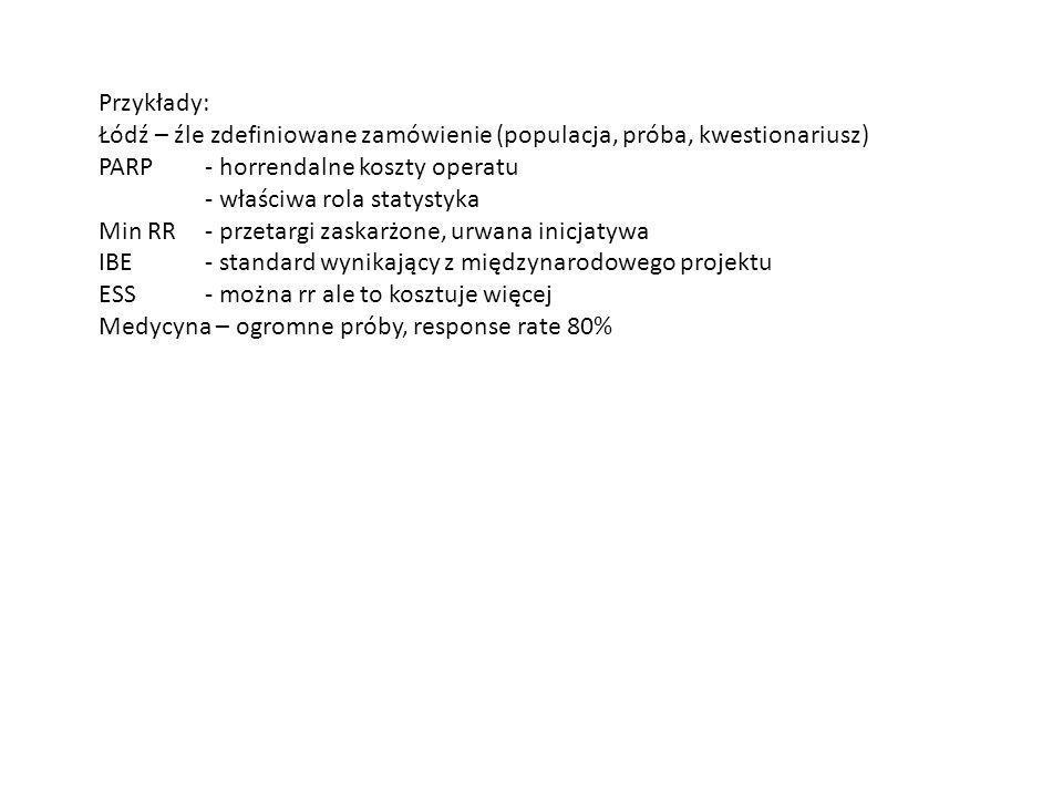 Przykłady: Łódź – źle zdefiniowane zamówienie (populacja, próba, kwestionariusz) PARP - horrendalne koszty operatu.