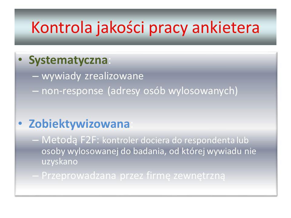 Kontrola jakości pracy ankietera