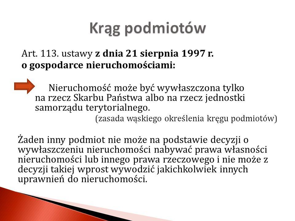 Krąg podmiotów Art. 113. ustawy z dnia 21 sierpnia 1997 r.